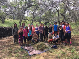 Hālau Maunalei and New York United Nations School cleared a new area